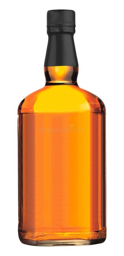 在白色的Wisky瓶 库存照片