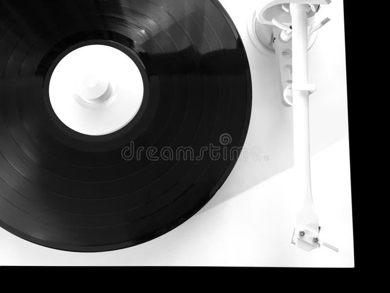 在白色盒的转盘与在黑顶视图隔绝的唱片 免版税库存照片