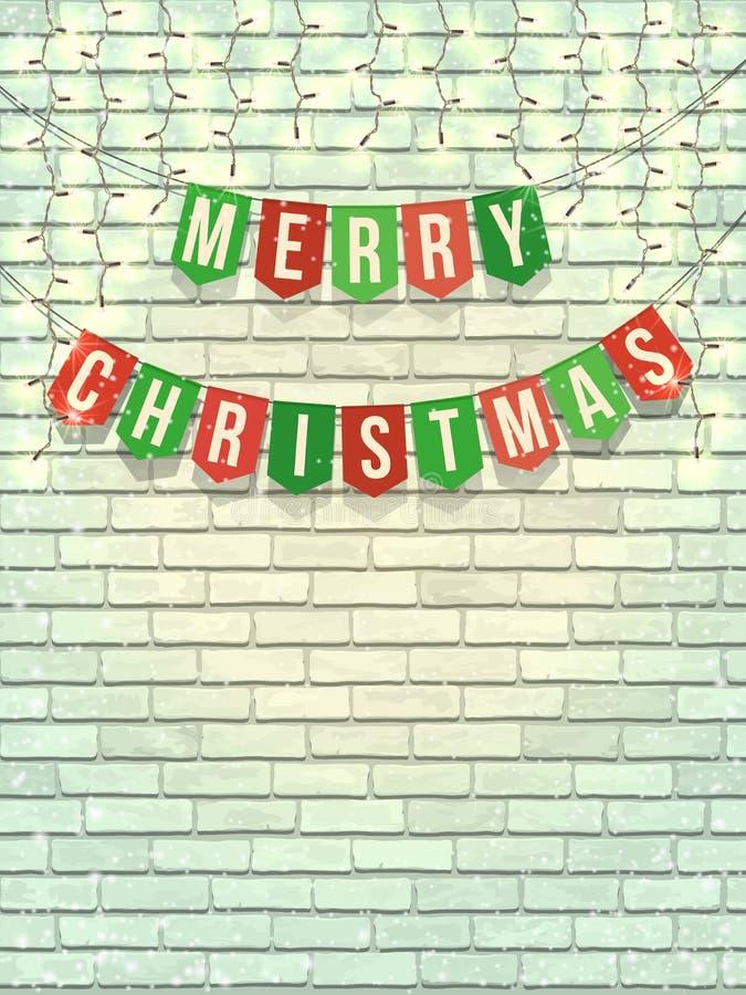 在白色砖墙上的圣诞快乐诗歌选 向量例证