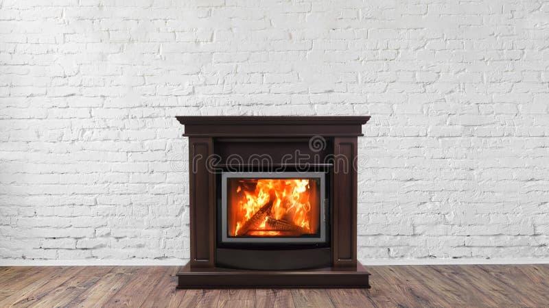 在白色砖墙上的壁炉在房子明亮的空的客厅内部  免版税图库摄影