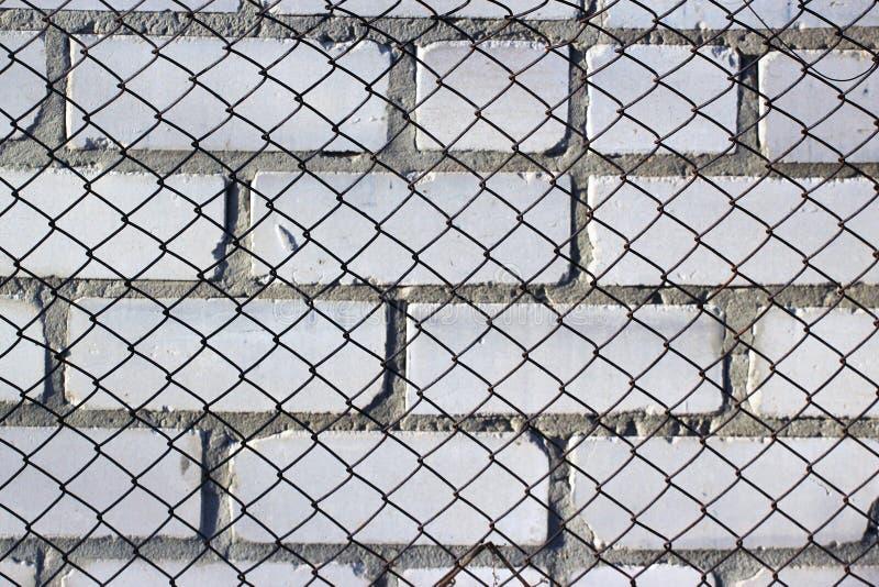 在白色砖墙上的链节篱芭 免版税库存图片