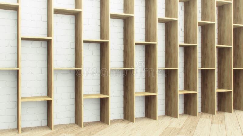 白砖墙背景木架 真实风格的空木架 木材装饰 标题模板 自然 皇族释放例证