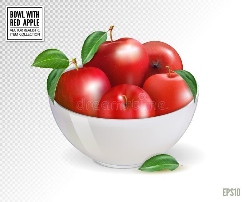 在白色碗的红色苹果,隔绝在透明背景 现实传染媒介, 3d 在任何大小的质量图象 库存例证