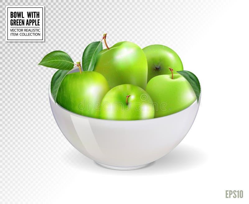 在白色碗的绿色苹果,隔绝在透明背景 现实传染媒介, 3d 在任何大小的质量图象 皇族释放例证