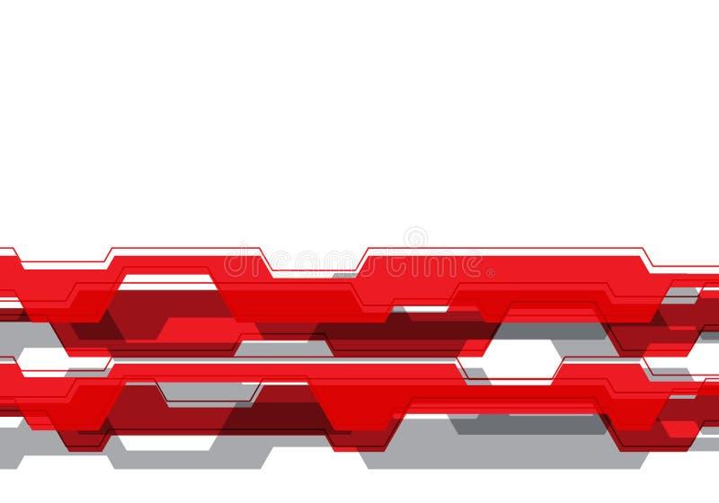 在白色空白设计现代未来派背景传染媒介的抽象红色灰色多角形电路工艺线 皇族释放例证