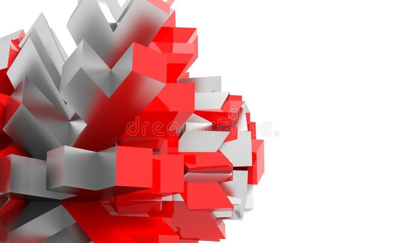 在白色空间介绍背景设计的抽象红色和表面无光泽的银色几何图 库存例证