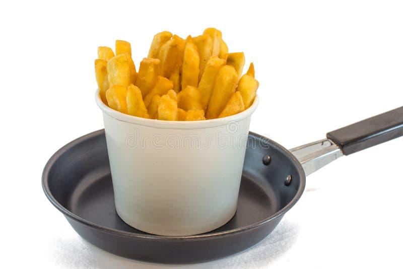 在白色箱子的炸薯条用番茄酱 免版税图库摄影