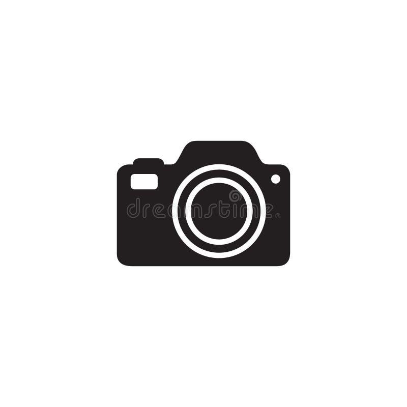在白色美好的黑色隔绝的照片照相机象传染媒介摄影平的标志标志商标例证 库存例证