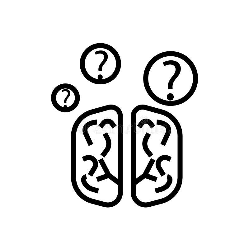 在白色背景、人的布赖恩标志、线性标志和冲程设计元素隔绝的人的布赖恩象传染媒介在概述样式 库存例证