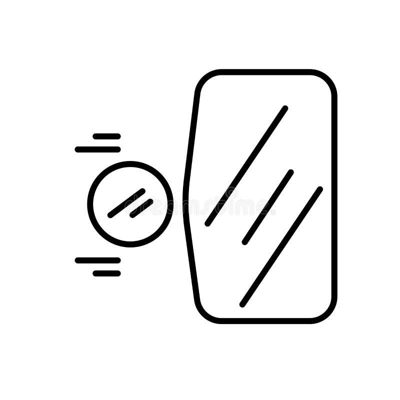 在白色背景、凸面标志、标志和标志隔绝的凸面象传染媒介在稀薄的线性概述样式 向量例证
