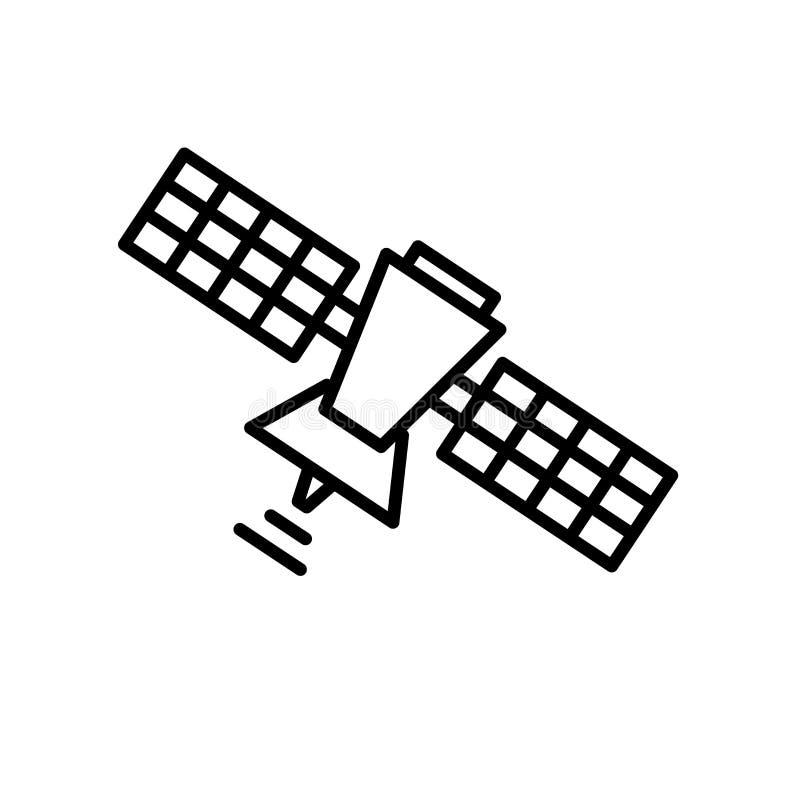 在白色背景、卫星标志、线或者线性标志隔绝的卫星象传染媒介,在概述样式的元素设计 库存例证
