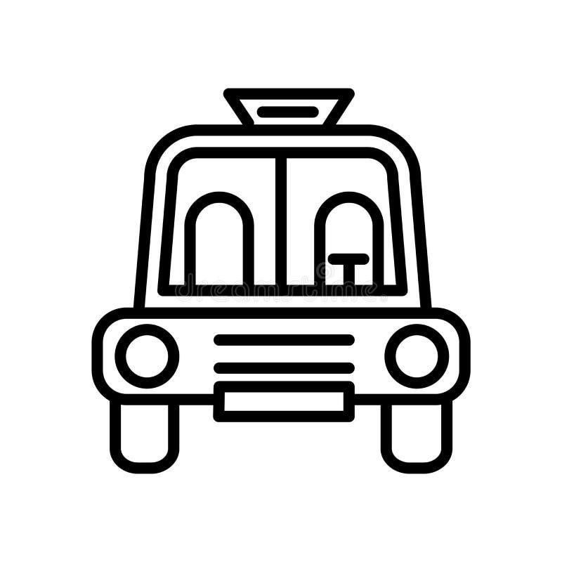 在白色背景、学校班车空的标志、线性标志和冲程设计元素隔绝的学校班车空的象传染媒介  库存例证