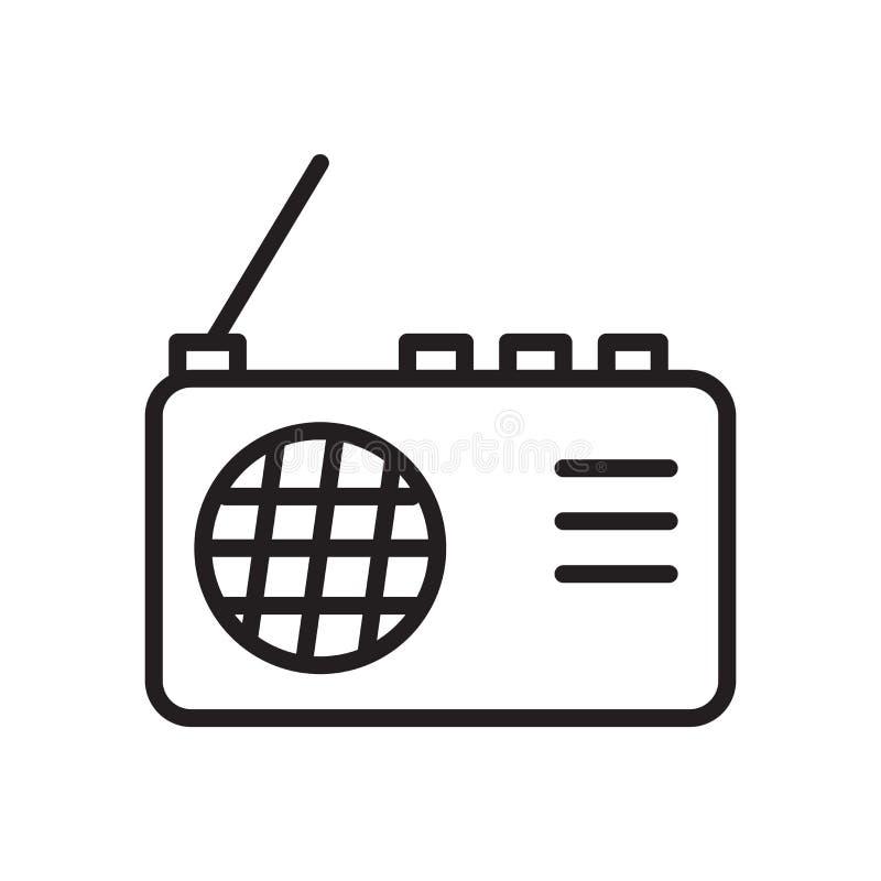 在白色背景、无线电标志、线性标志和冲程设计元素隔绝的无线电象传染媒介在概述样式 库存例证
