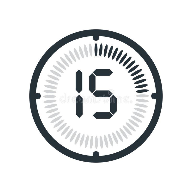在白色背景、时钟和watc隔绝的15分钟象 库存例证