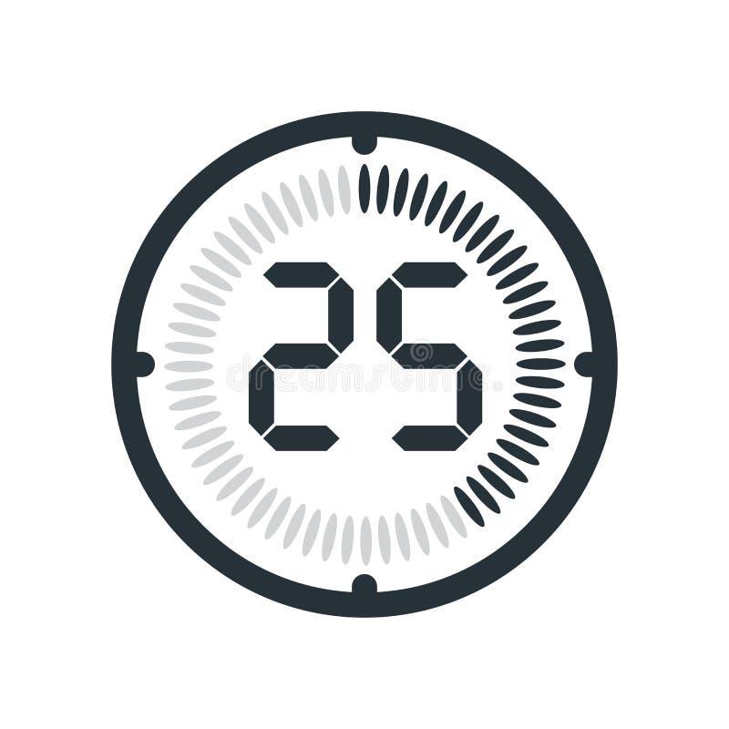 在白色背景、时钟和watc隔绝的25分钟象 库存例证