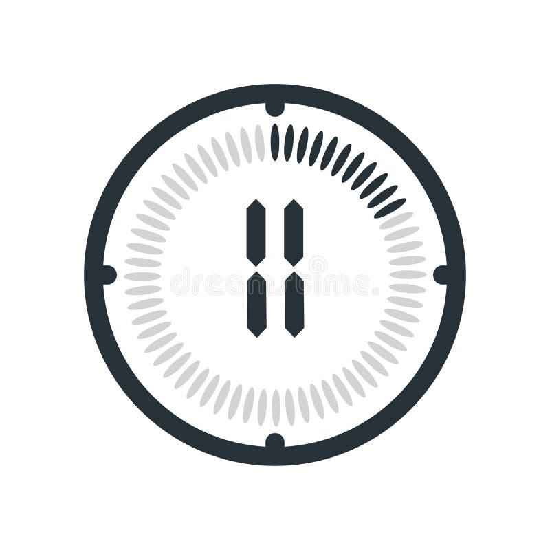 在白色背景、时钟和watc隔绝的11分钟象 库存例证