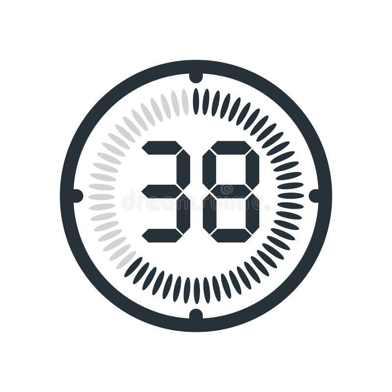 在白色背景、时钟和watc隔绝的38分钟象 皇族释放例证