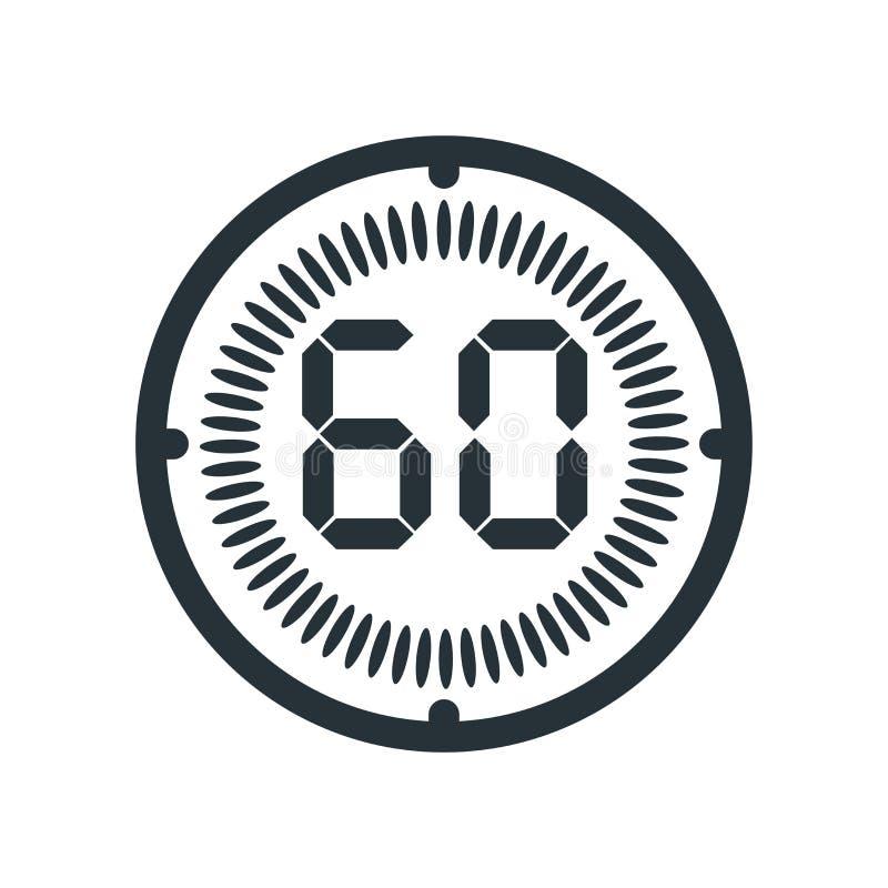 在白色背景、时钟和watc隔绝的60分钟象 库存例证