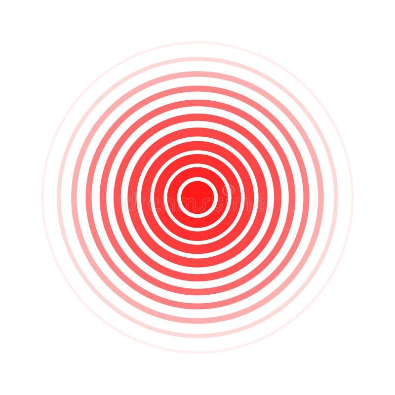 在白色背景、痛苦或者合理的标志隔绝的传染媒介红色圆环 库存例证