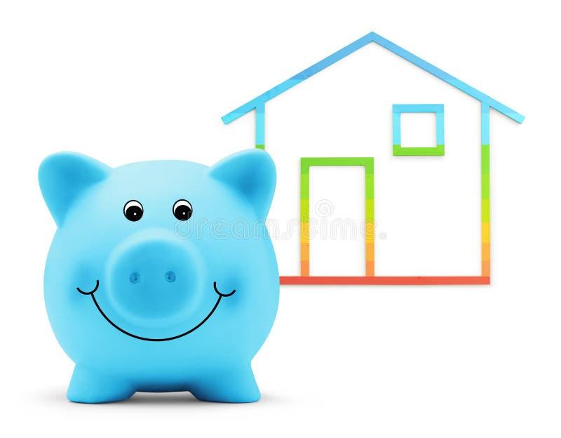在白色背景、绿色大厦和节能概念有房子形状的存钱罐隔绝的 免版税库存图片