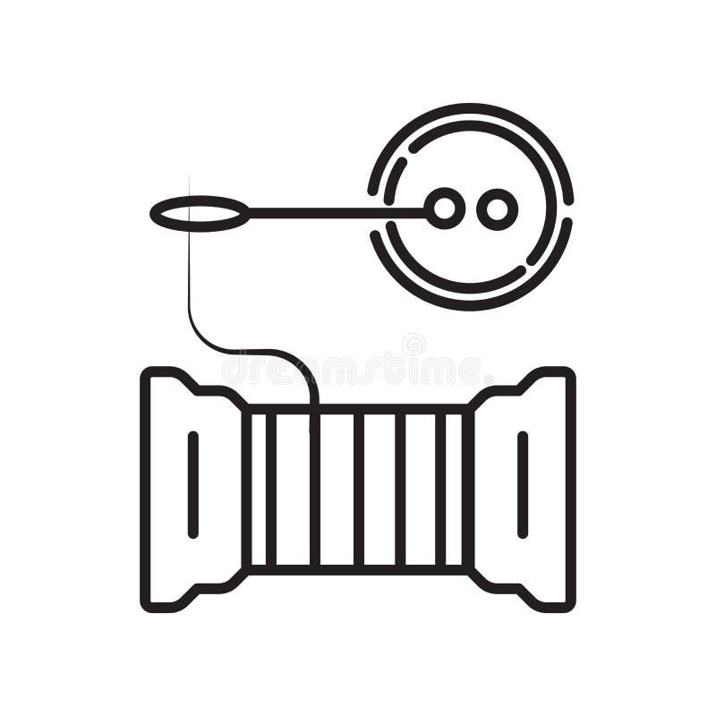 在白色背景、缝合的标志、标志和标志隔绝的缝合的象传染媒介在稀薄的线性概述样式 皇族释放例证