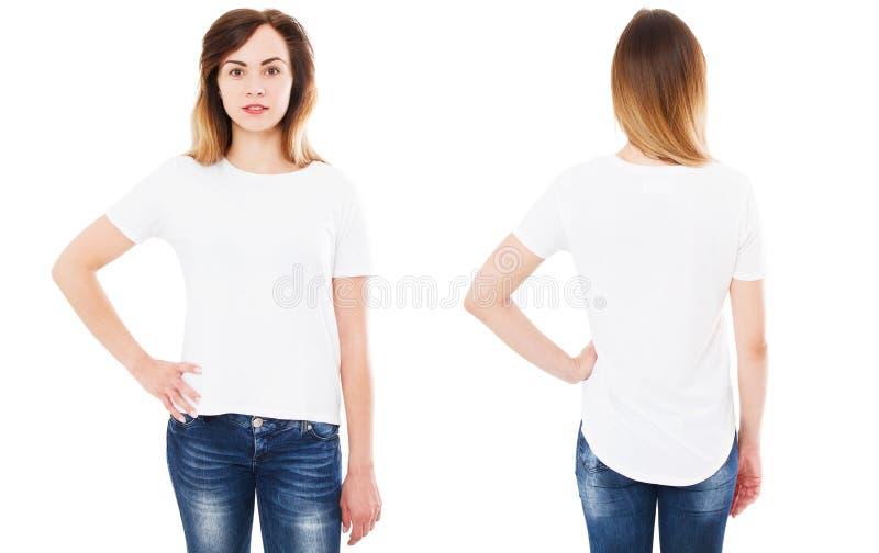 在白色背景、T恤杉拼贴画或者集合隔绝的前面后面看法T恤杉,女孩衬衣 库存照片