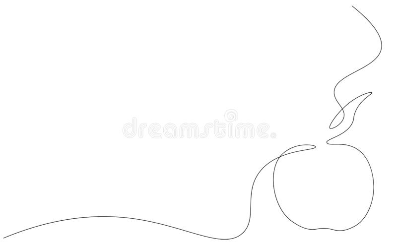 在白色背景一线描的苹果计算机 库存例证