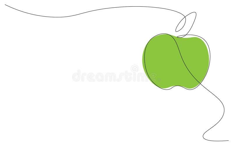 在白色背景一线描,传染媒介的绿色苹果 库存例证