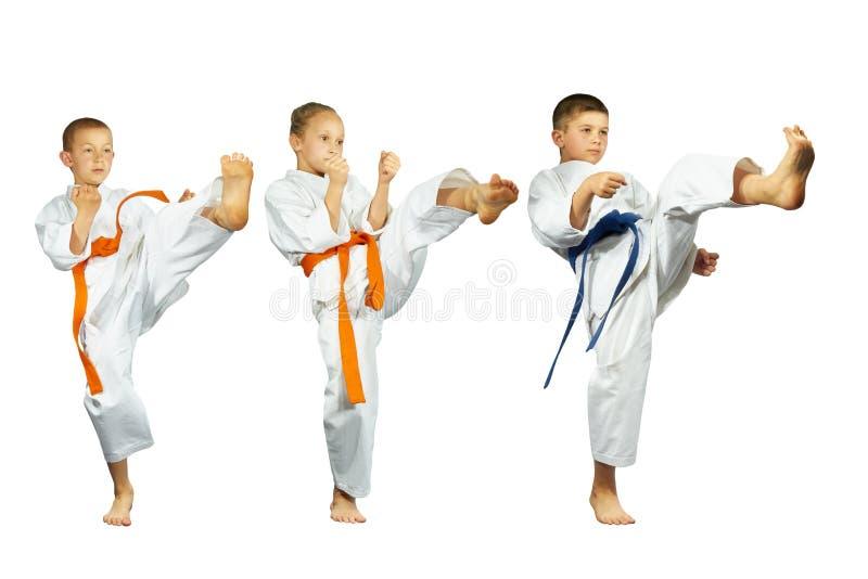 在白色背景三运动员敲打踢mae-geri拼贴画 图库摄影