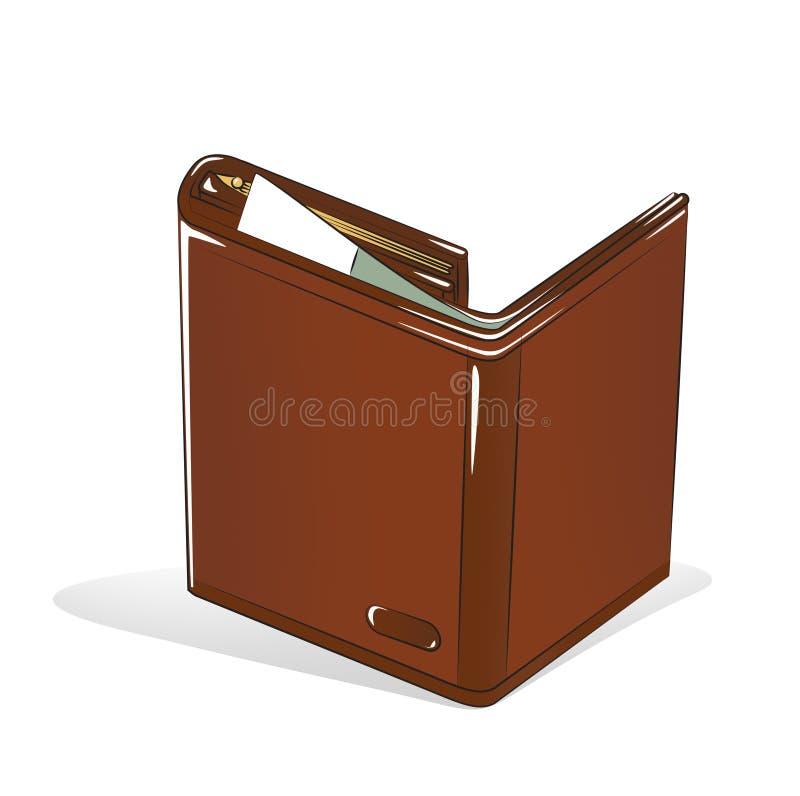 在白色背景上开放棕色钱包 向量例证