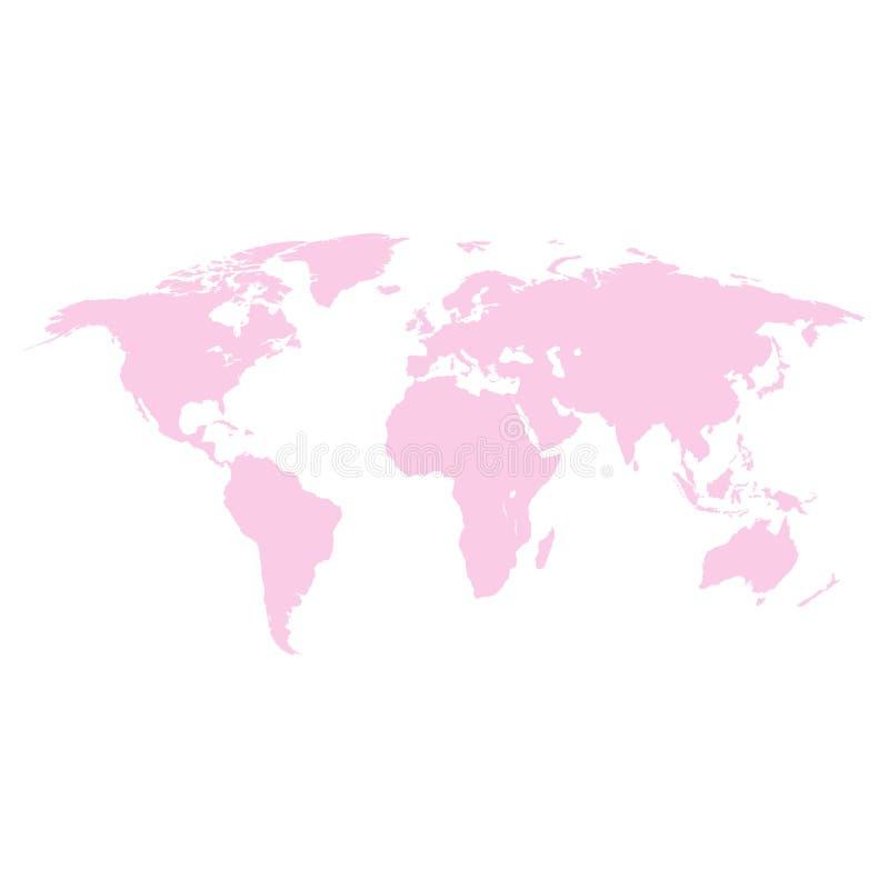 在白色背景上色的世界地图桃红色 向量例证