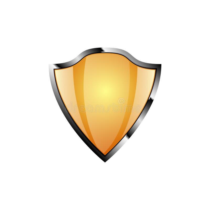 在白色背景上色的安全盾黄色 灰色概述 传染媒介象例证 向量例证