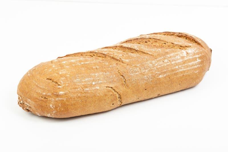 在白色背景上被隔绝的慢性的健康面包 库存照片