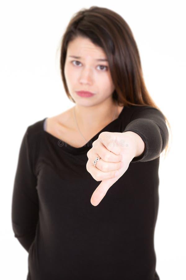 在白色背景下来隔绝的哀伤的哭泣的沉思疯狂的疯狂的年轻女人拇指画象  免版税库存图片