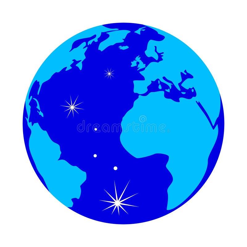 在白色背景与反射的蓝色地球地球隔绝的 皇族释放例证