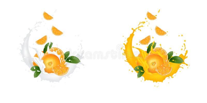 在白色背景与汁液牛奶酸奶飞溅下落的新3d现实橙色切片隔绝的 包装的模板 ?? 向量例证