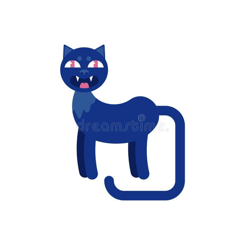 在白色背景与犬齿和长尾巴侧视图的黑暗的猫隔绝的 向量例证