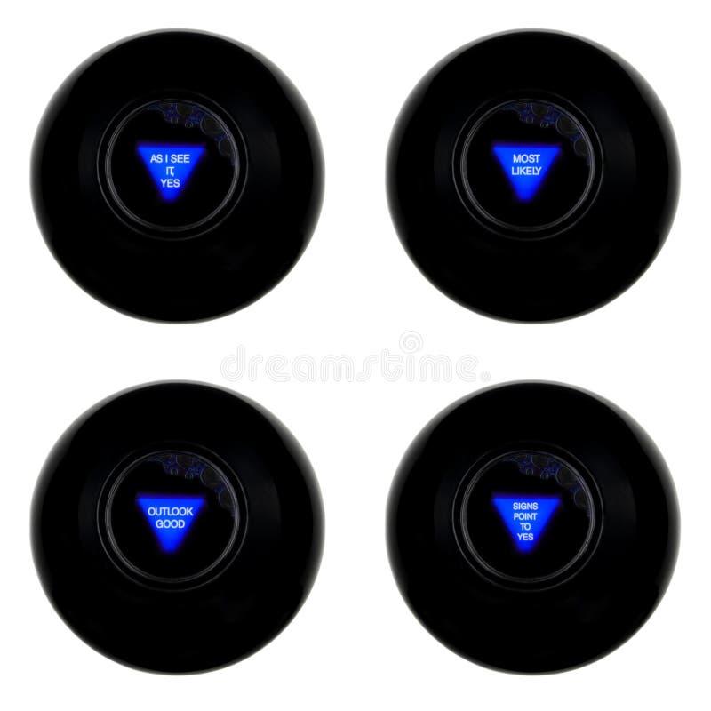 在白色背景与犹豫不决正面预言的四个不可思议的8个球隔绝的设置  皇族释放例证