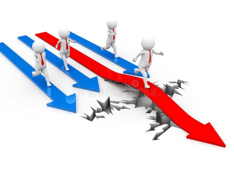 在白色背景与红色箭头的商人克服裂缝障碍隔绝的,企业成功概念 3d回报 库存例证