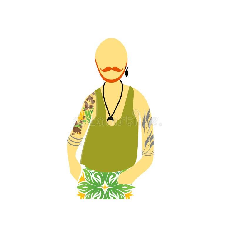在白色背景与纹身花刺传染媒介传染媒介标志和标志的有胡子的行家男性隔绝的,与纹身花刺的有胡子的行家男性 皇族释放例证