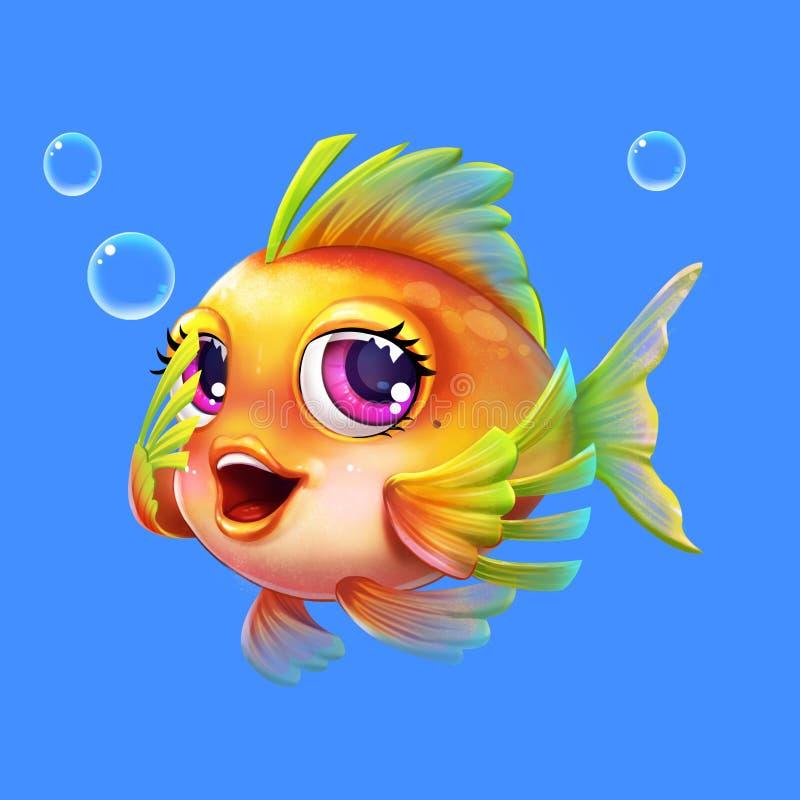 在白色背景与芳香树脂和动画片样式的美丽的动画片海鱼隔绝的 库存例证