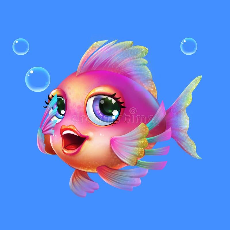 在白色背景与芳香树脂和动画片样式的美丽的动画片海鱼隔绝的 皇族释放例证