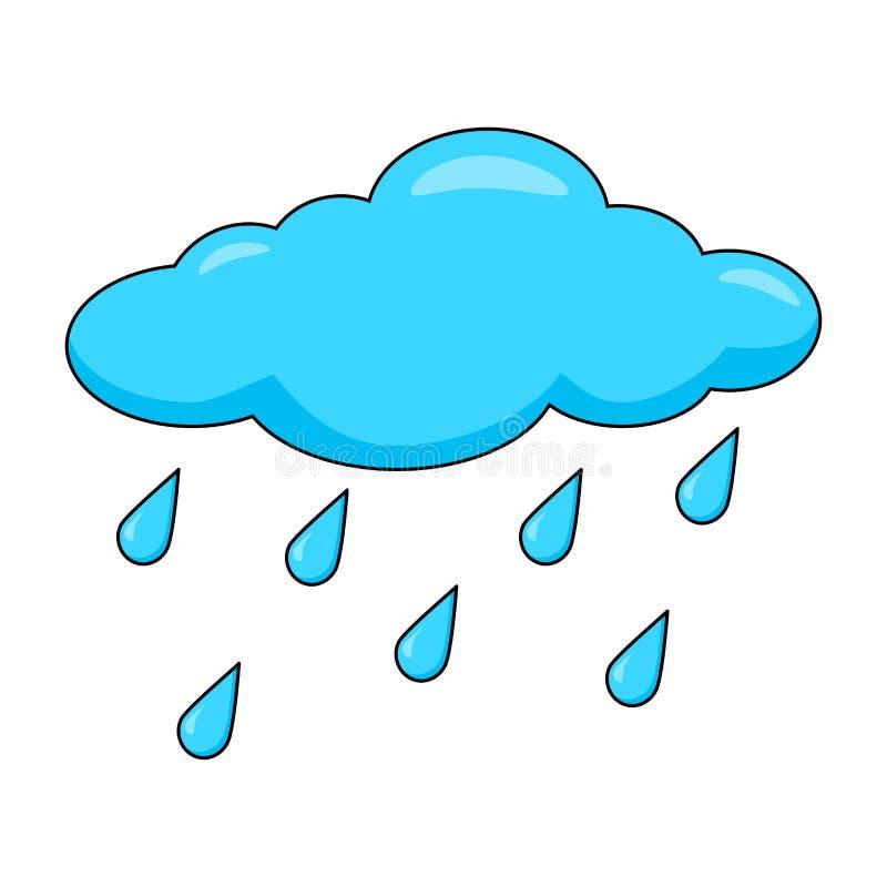 在白色背景与雨下落的动画片云彩隔绝的 向量例证