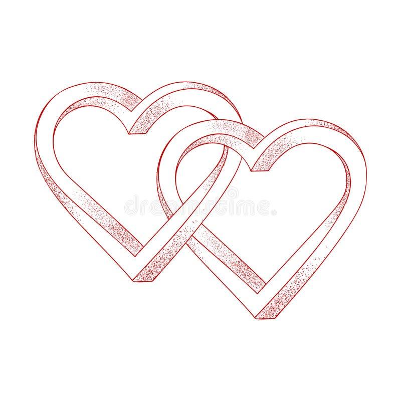 在白色背景交错的两心脏 错觉  库存例证