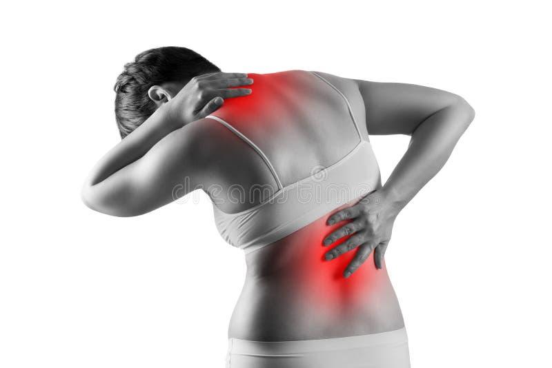 在白色背景以后背疼痛,坐骨神经痛和脊柱侧凸的痛苦隔绝的男性身体、妇女,按摩医生治疗概念 库存照片