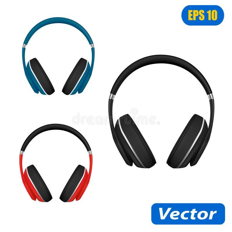 在白色背景传染媒介例证在传染媒介的耳机隔绝的 库存例证