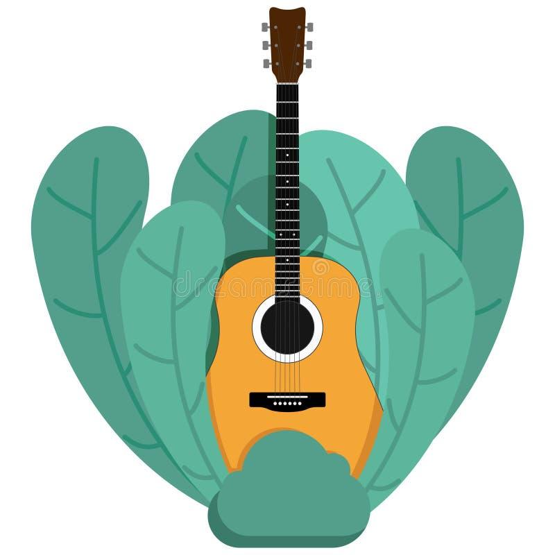 在白色背景传染媒介例证隔绝的植物背景的声学吉他 皇族释放例证