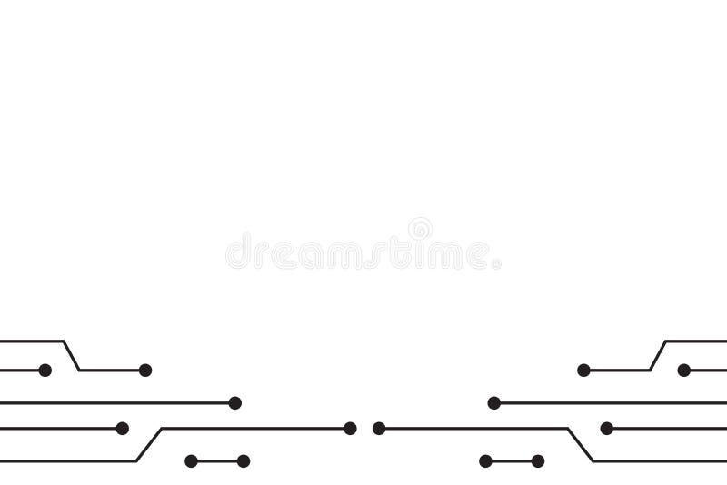 在白色背景传染媒介技术设计的黑电路线 库存例证