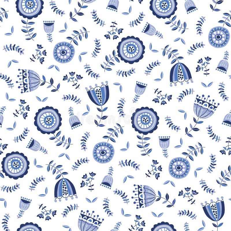 在白色背景传染媒介无缝的样式的民间蓝色花 德尔福特Florals 手拉的乱画黑白照片植物群 库存例证
