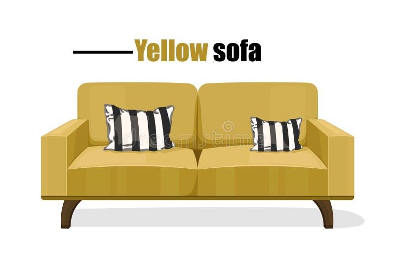 在白色背景传染媒介模板隔绝的现代沙发 黄色室内装饰品 库存例证